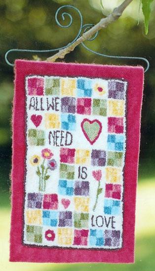 Clearance Myrtle Grace Motifs All We Need Is Love Punchneedle