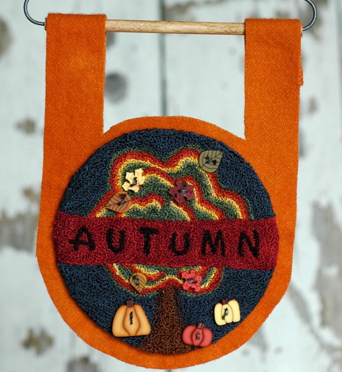 Clearance Myrtle Grace Motifs  Buttoned Up For Autumn Punchneedle