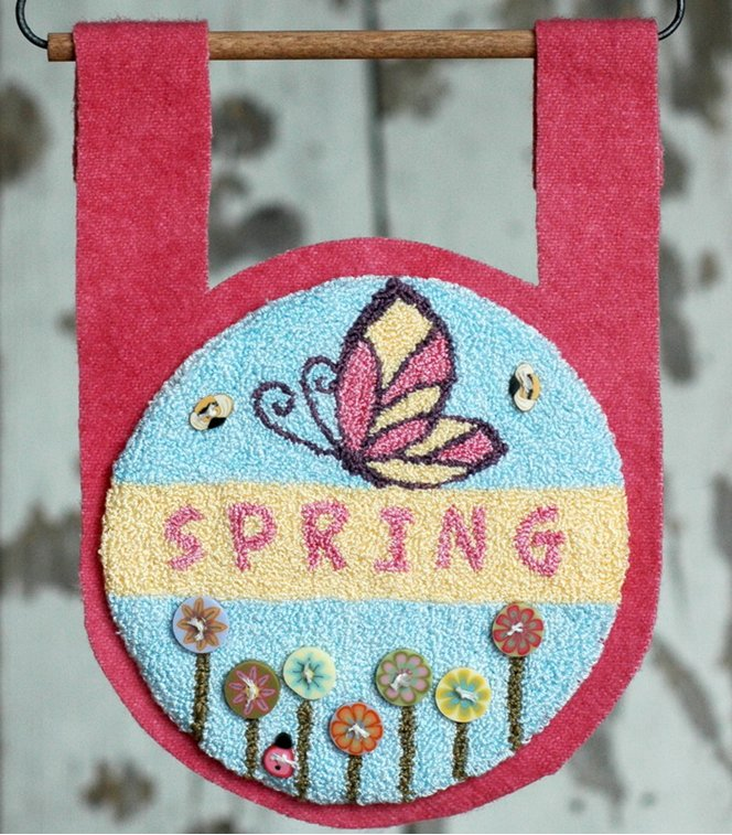 Clearance Myrtle Grace Motifs  Buttoned Up For Spring Punchneedle