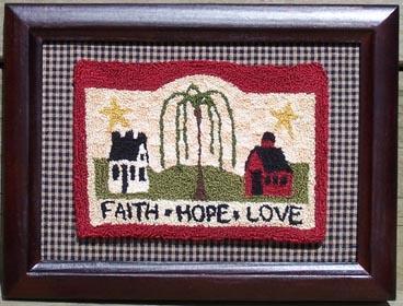 Clearance Myrtle Grace Motifs Faith Hope Love Punchneedle