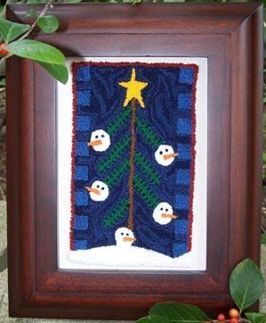 Clearance Myrtle Grace Motifs Snowmen Up A Tree Punchneedle