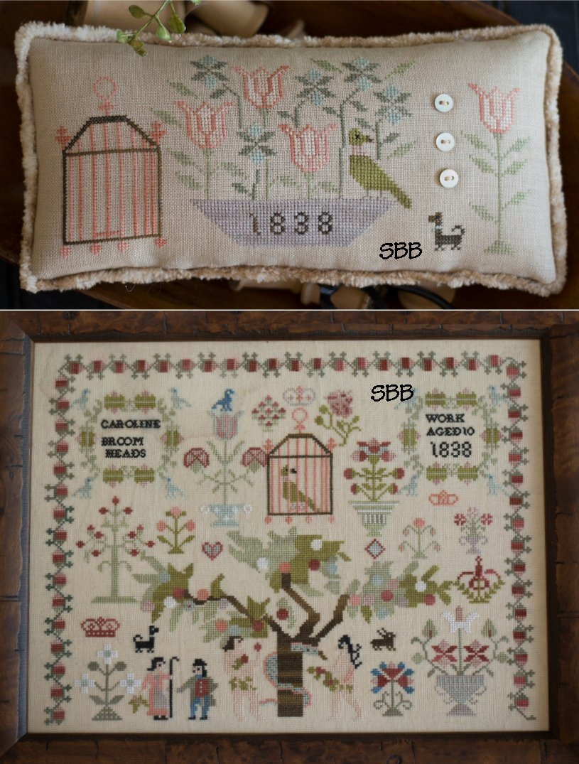 Clearance Plum Street Samplers Caroline Broomhead 1838 & Her Little Friends Pinkeep