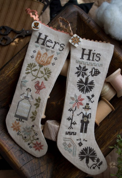Clearance Plum Street Samplers His & Hers Thankgiving Stockings