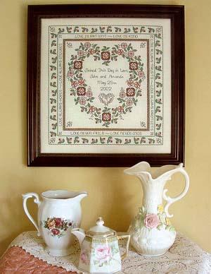 Clearance Rosewood Manor Designs Baltimore Rose Wedding Sampler