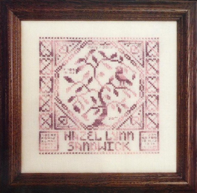Clearance Rosewood Manor Designs Quaker Birth Sampler