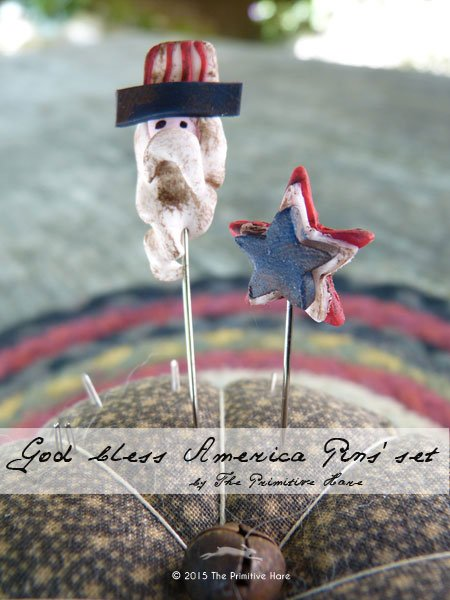 Clearance The Primitive Hare  ~ Pins ~ God Bless America (3)
