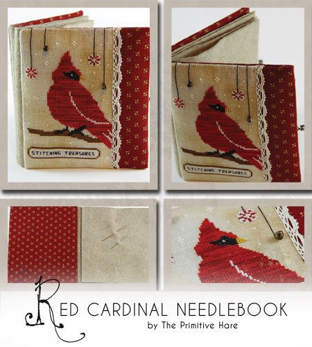 Clearance The Primitive Hare Red Cardinal Needlebook