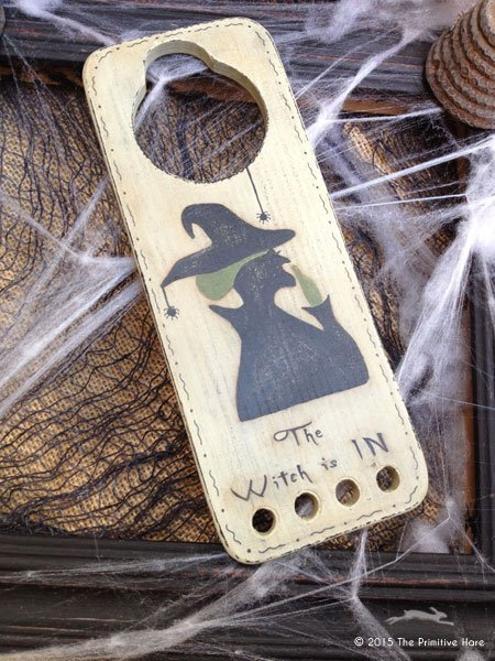 Clearance The Primitive Hare ~ Thread Keepers ~ The Witch Is In Door Hanger Thread Keep