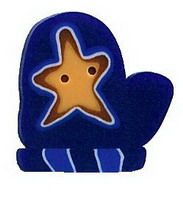 JABCo Seasonal  4421.L Large Blue Mitten With Star
