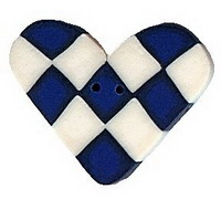 JABCo Shapes  3345 Blue & White Checked Heart