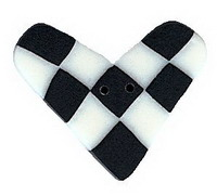 JABCo Sunshine & Shadows Collectionss1013 Black & White Checked Heart