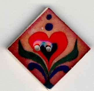 Jim Shore Buttons87012 Red Hearts On Terracotta