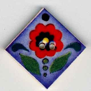 Jim Shore Buttons87013 Red Flower On Blue