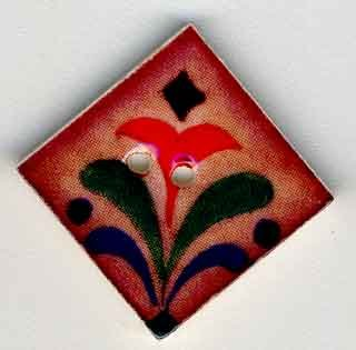 Jim Shore Buttons87014 Red Flower On Terracotta