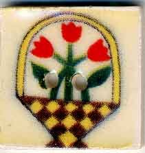 Jim Shore Buttons87015 Tulip Basket On White