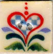 Jim Shore Buttons87017 Checkered Aqua Heart