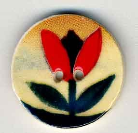 Jim Shore Buttons87020 Red Tulip On Beige