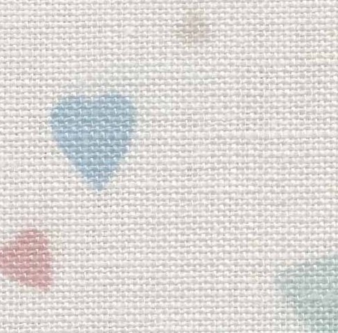 Clearance Fabric Flair Conversation Hearts With Opalescent Sparkles ~ 28 Count Evenweave ~ Fat Quarter
