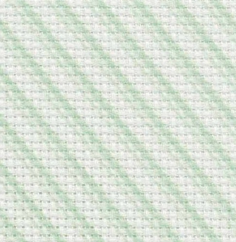 Fabric Flair 14 Count Aida Green Peppermint Candy Stripes 2046