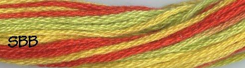 Valdani Variegated Floss M0008 Orange, Kiwi & Papaya