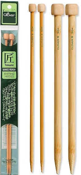 Clover Knitting Needles CL301211 Takumi Bamboo Single Pointed 14