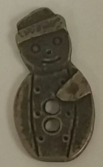 Homespun Elegance Olde Brass Buttons Package of 2 ~ Snowman