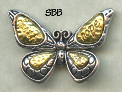 Repurposed Pretties Silver & Gold Butterfly