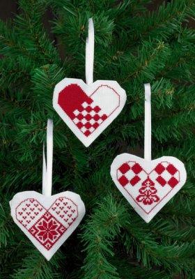 Permin Kits014272 ~ Heart Ornaments (white) ~ 18 count Aida