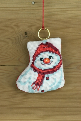 Permin Kits016256 ~ Stocking With Snowman Ornament ~ 14 count Aida