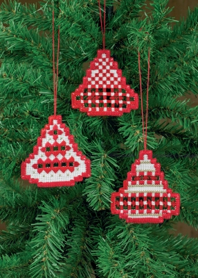 Permin Kits016619 ~ Three Christmas Bell Hardanger Ornament ~ White with Red ~ 22 count Hardanger