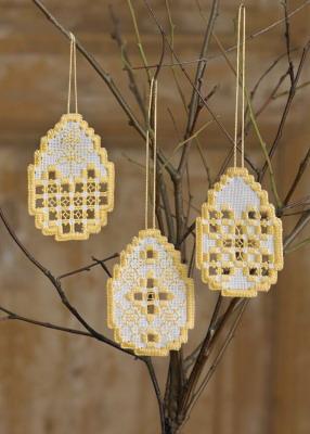 Permin Kits016822 ~ Easter Hardanger Eggs (3 designs) ~ 22 Count Hardanger