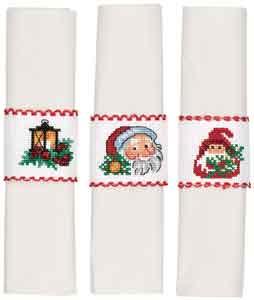 Permin Kits029553 ~ Holiday Napkin Rings ~ 16 count Aida
