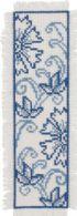 Permin Kits056168 ~ Blue Flower Bookmark ~ 14 count Ecru Aida