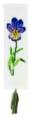 Permin Kits056317 ~ Pansies Bookmark ~ 18 count Aida