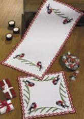 Permin Kits102627 ~ Bullfinch Table Topper (bottom) ~ 22 count Cotton