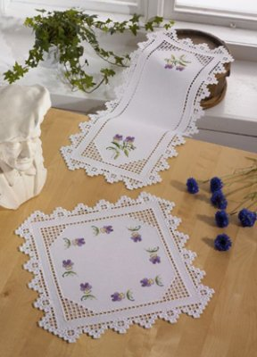 Permin Kits102853 ~ Hardanger with Violets ~ 22 count Hardanger