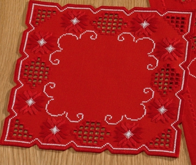 Permin Kits109820 ~ Hardanger Red Table Topper (center) ~ 22 count Hardanger