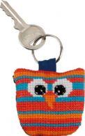 Permin Kits116112 ~ Owl Keyring ~ Vertical Stripes ~ 14 count White Aida