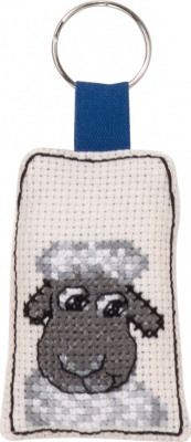 Permin Kits116434 ~ Smiling Sheep Keyring ~ 14 Count Aida