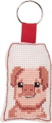 Permin Kits116435 ~ Smiling Pig Keyring ~ 14 Count Aida