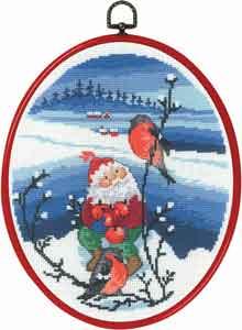 Permin Kits120526 ~ Santa & Bird ~ 14 count Aida