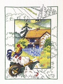 Permin Kits121119 ~ Chickens At Cottage ~ 14 count Aida