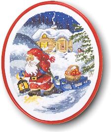 Permin Kits121265 ~ Santa Pulling SLed ~ 14 count Aida