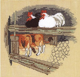 Permin Kits121300 ~ Chickens & Cows ~ 28 count Linen
