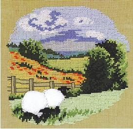 Permin Kits121301 ~ Grazing Sheep ~ 28 count Linen