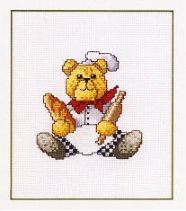 Permin Kits121491 ~ Teddy Bear With Rolling Pin ~ 16 count Aida