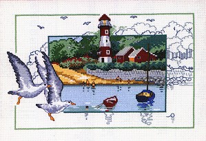 Permin Kits122143 ~ Gulls By The Lighthouse ~ 16 count Aida