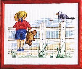 Permin Kits122152 ~ Boy With Teddy Bear ~ 14 count Aida