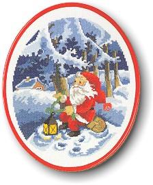 Permin Kits122298 ~ Santa Sitting On A Log ~ 14 count Aida