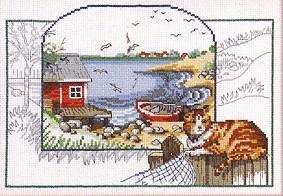 Permin Kits122305 ~ Seashore With Cat ~ 14 count Aida